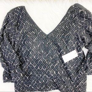 Anthropologie Amadi deep v cross back blouse top